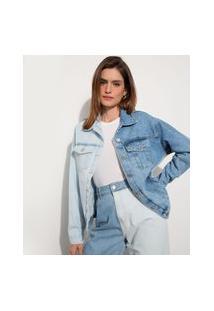 Jaqueta Oversized Jeans Bicolor Marmorizada Com Bolsos Mindset Azul Médio