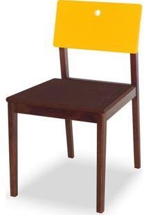 Cadeira Flip Cor Cacau Com Encosto Amarelo - 30841 - Sun House