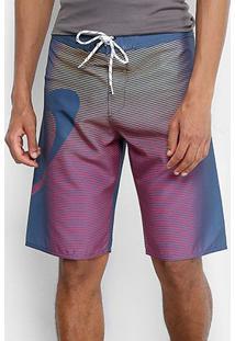 Bermuda Oakley Faded Stripes Boardshorts Masculina - Masculino-Azul+Rosa