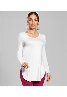 Blusa Feminina Básica Alongada Rovitex - Feminino-Branco