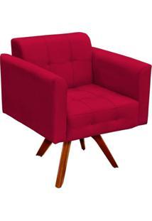 Poltrona Decorativa Giratória Gran Elisa Base Madeira Suede Vermelho - D'Rossi