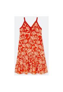Vestido Floral Sem Mangas Com Babados Na Barra Curve & Plus Size | Ashua Curve E Plus Size | Laranja | Eg