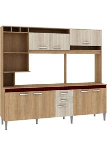 Cozinha Compacta Fellicci Helen Cc60T Carvalho Blanche Bordo Se