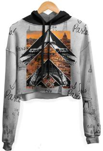 Blusa Cropped Moletom Feminina Over Fame Paris Md01