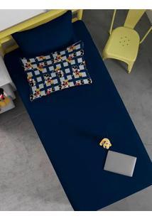 Jogo De Lençol Solteiro Simples Disney Azul Marinho