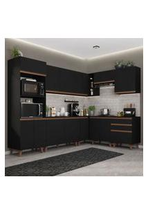 Armário De Cozinha Completa De Canto Madesa Reims 462001 Com Balcáo - Preto Preto