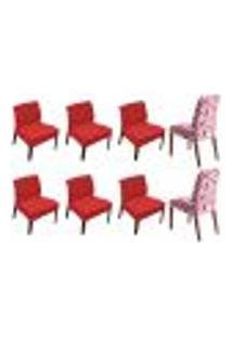 Kit 8 Capas De Cadeira Estampada Lisa Vermelha Shade Sultan