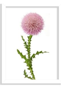 Quadro Decorativo Flor Cartamo Branco - Médio