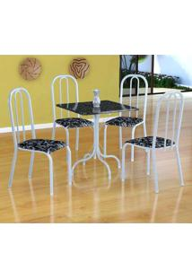 Conjunto De Mesa Malaga Com 4 Cadeiras Madri Branco E Preto Floral