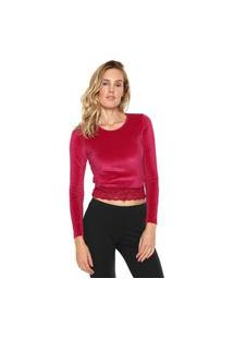 Camiseta Cropped Indecense Veludo Renda Rosa