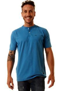Camiseta Oitavo Ato Henley Stone Masculina - Masculino-Azul Turquesa