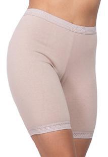 Calcinha Click Chique Calça Alta Short Modelador Cotton Bege
