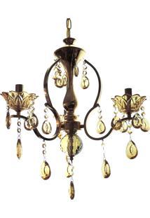 Lustre 3 Braços Cristal Diamante 1535/3 120W Bivolt Dourado