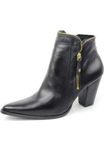 Ankle Boot Couro Sapatofran Perlatto Feminina - Feminino-Preto