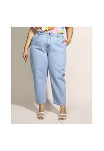 Calça Jeans Feminina Plus Size Sawary Baggy Cintura Alta Com Pences Azul Claro