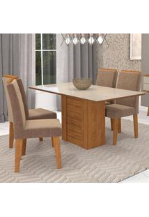 Conjunto De 4 Cadeiras Para Sala De Jantar 130X80 Rafaela/Tais-Cimol - Savana / Off White / Pluma