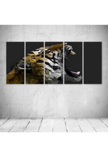 Quadro Decorativo - Tiger Digital Art - Composto De 5 Quadros - Multicolorido - Dafiti
