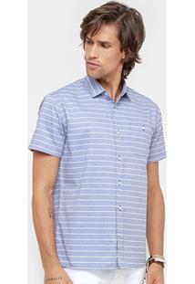 Camisa Colcci Manga Curta Listrada Masculina - Masculino