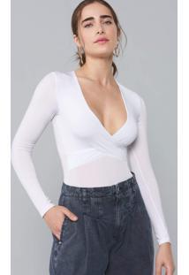 Body Amaro Cruzado Manga Longa Branco - Branco - Feminino - Dafiti