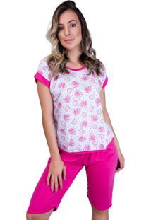 Pijama Mvb Modas Pescador Adulto Blusinha E Calça Curta Rosa