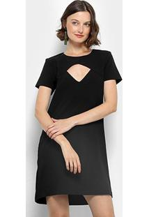 Vestido Lança Perfume Evasê Curto Com Decote - Feminino-Preto