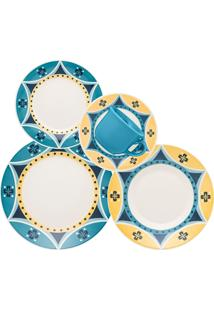 Aparelho De Jantar Biona Actual Sintra Cerâmica 20 Peças Azul