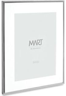 Porta Retrato Metalizado- Prateado & Branco- Tamanhomart