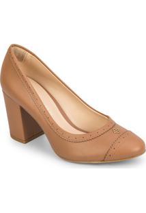 Sapato Tradicional Com Microfuros - Bege- Salto: 8Cmcapodarte