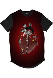 Camiseta Longline Bsc Coração De Máquina Motor Sublimada Masculina - Masculino-Vermelho