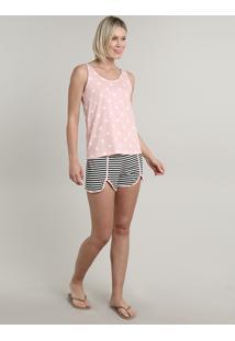 Pijama Feminino Estampado De Poá E Listrado Regata Rosa