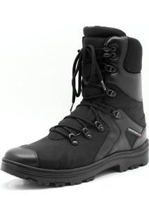Coturno Militar De Couro E Lona Atron Shoes Preta
