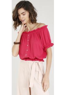 Blusa Feminina Ombro A Ombro Com Botões Manga Curta Rosa Escuro