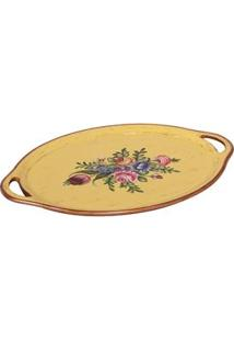 Bandeja Oval Decorativa Btc Em Madeira Com Estampa Floral 2,5 X 59,5 X 41 - Dourada/Mostarda