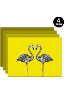 Jogo Americano Mdecore Flamingo 40X28Cm Amarelo 4Pçs