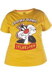 Camiseta Manga Curta Plus Feminina Looney Tunes Frajola - Feminino-Mostarda