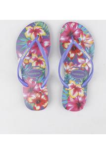 Chinelo Havaianas Feminino Slim Estampado Floral Roxo