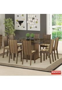 Mesa De Jantar 8 Lugares Camila Rustic/Bege Marrom - Madesa Móveis