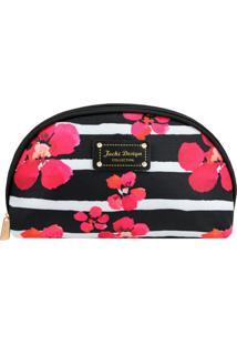 Nécessaire Meia Lua Floral Bossanova- Preta & Pink- Jacki Design