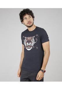 Camiseta Masculina Tigre Manga Curta Gola Careca Cinza Mescla Escuro