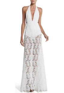 Vestido Rosa Chá Vandy Folhas Festa Longo Off White Feminino (Off White, Gg)