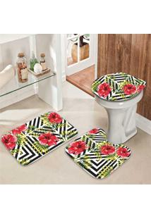 Jogo Tapetes Para Banheiro Floral Nature - Único