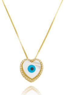 Colar Drusi Semi Joias Coração Com Olho Grego Madre Pérola Dourado