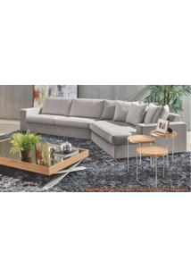 Sofa Style De 3 Lugares Com Chaise 45 Graus Na Cor Cinza (Bege) Pes Amendoa -49594 - Sun House