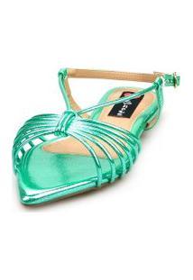 Sandalia Love Shoes Salomé Rasteira Bico Folha Tirinhas Metalizadas Verde