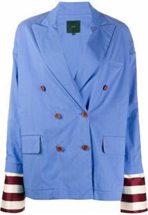 Jejia Blazer Com Abotoamento Duplo E Monograma Ff - Azul