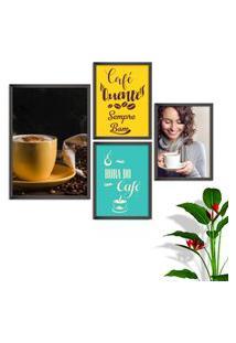Kit Conjunto 4 Quadro Oppen House S Frases Com Café Quente Sempre Bom Lojas Cafeteria Xícaras Gráos Moldura Preta Decorativo Interiores Sem Vidro