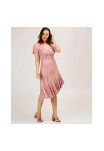 Vestido Feminino Midi Assimétrico Listrado