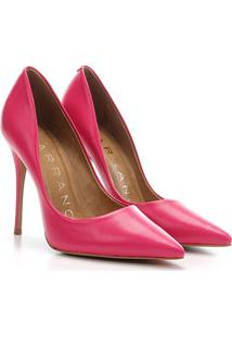 Scarpin Couro Carrano Salto Alto Clássico - Feminino-Rosa Escuro