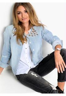 Jaqueta Jeans Com Pedrarias Azul Claro