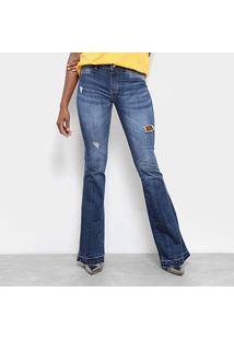 d262ae516 ... Calça Jeans Flare Sawary Rasgos Estonada Cintura Média Feminina -  Feminino-Azul